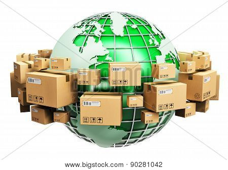 Global shipping and ecology concept