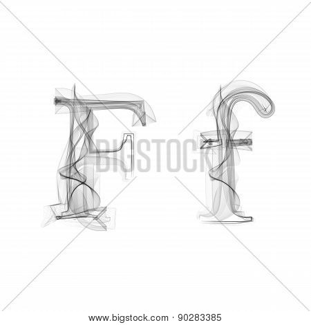 Black Smoke font. Letter F