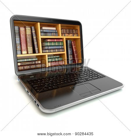 E-learning education internet library or book store. Laptop and vintage books isolated on white. 3d