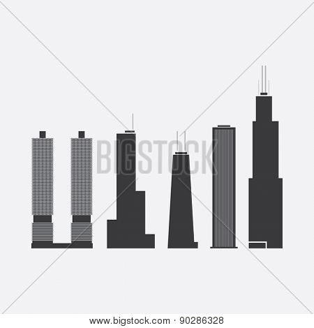 May 08, 2015: Collection of Icons of Five Famous Skyscrapers: Marina City, Trump International Hotel & Tower, John Hancock Tower, Aon Center, Willis Tower - For Editorial Use Only