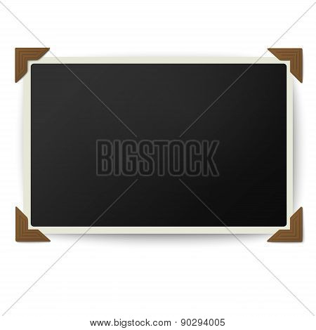 Retro photo frame with straight edges in vintage brown photo corners isolated on white background poster