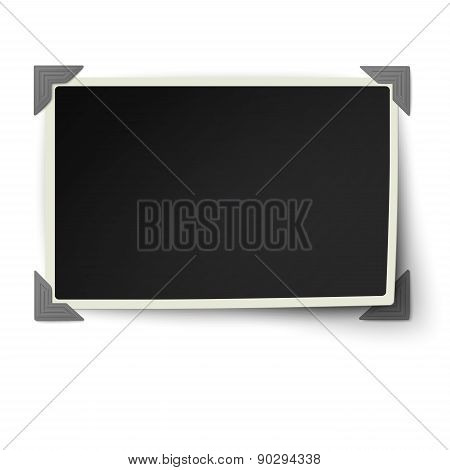 Retro Straight Edges Photo Frame With One Not Fixed Corner In Vintage Photo Corners Isolated On Whit