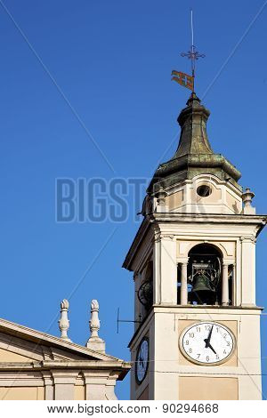 Castano Primo    Italy   The   Wall  And   Tower Bell Sunny Day