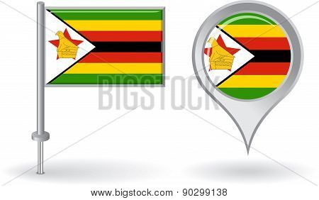 Zimbabwean pin icon and map pointer flag. Vector