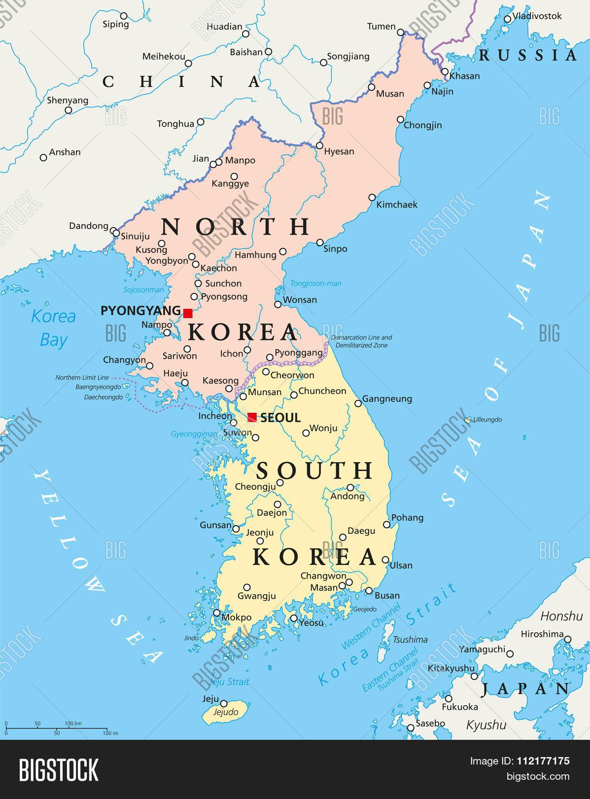 Ulsan Korea Map.North Korea South Vector Photo Free Trial Bigstock