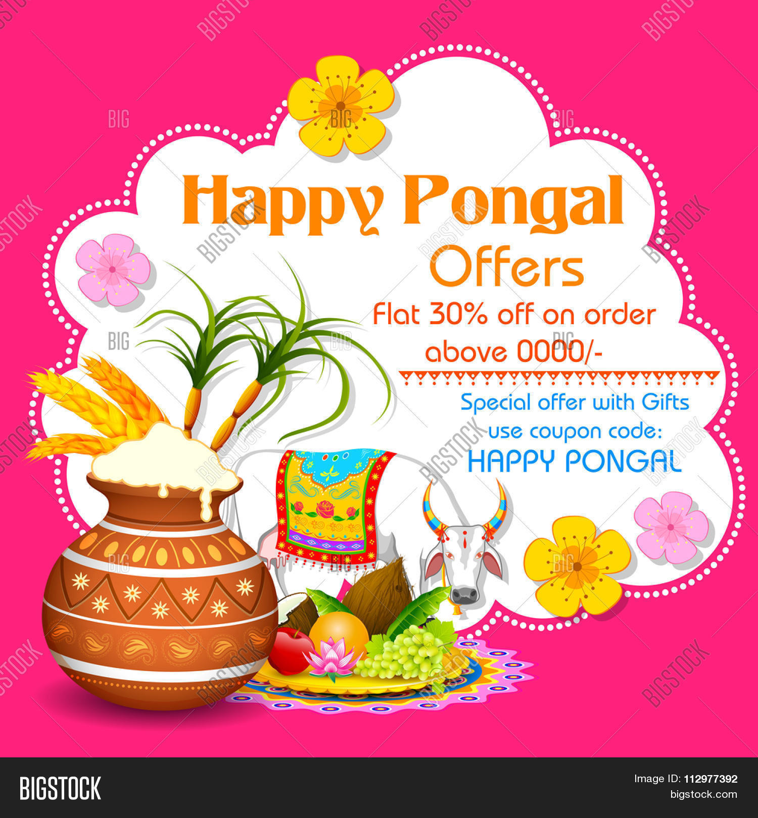 Illustration happy vector photo free trial bigstock illustration of happy pongal greeting background m4hsunfo