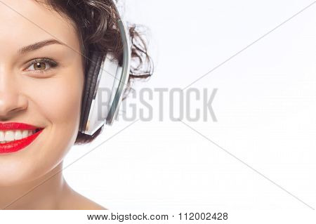 Young attractive woman in headphones