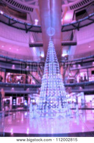 Blurred Christmas Background:  Multilevel Shopping Mall.