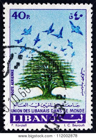 Postage Stamp Lebanon 1960 Cedar And Birds
