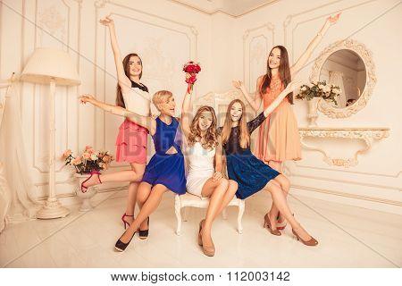 Happy Hen-party Of Cute Girls In Studio