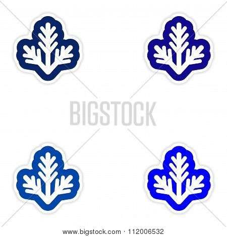 Set of paper stickers on white background fur-tree branch