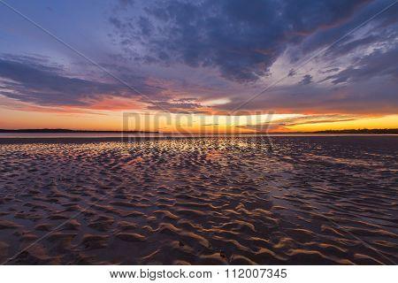 Beautiful Glowing Sunset Reflections In Sand Ripples, Inverloch, Australia