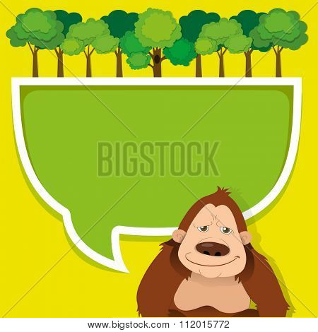 Border design with gorila and trees illustration