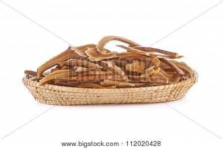 Ling Zhi Mushroom In Basket On White Background