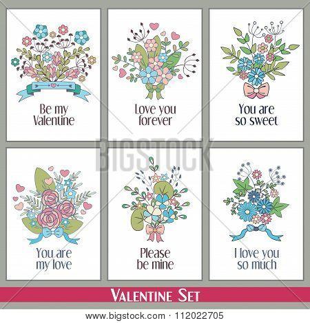 Set Of Hand Drawn Valentine Greetings