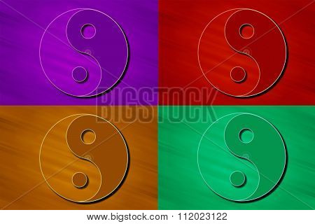 Four stylized Yin Yang symbols in violet, red, orange and green colors. poster
