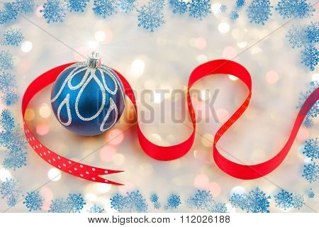 Chirstmas Bauble With Red Ribbon