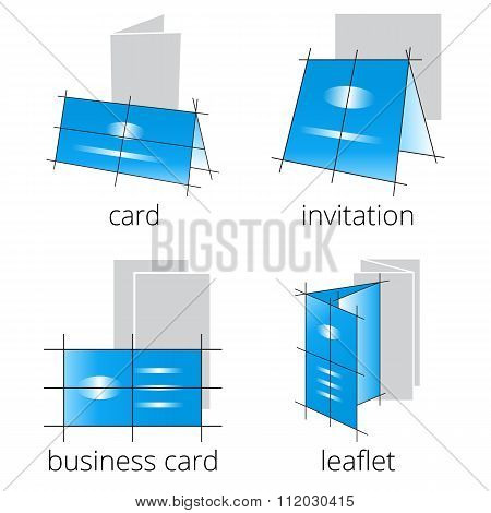 Printing shop services blue icons set. Part 2