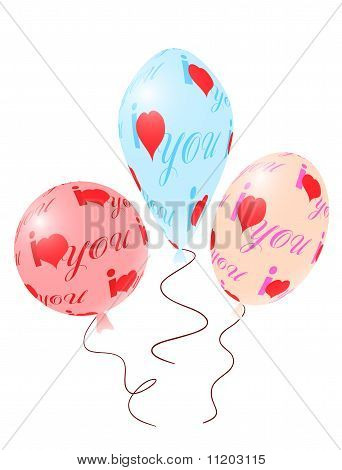 Balloons With Red Ornament Of Heart Symbols