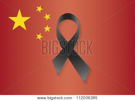 China Flag Black Ribbon
