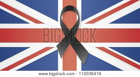 United Kingdom Flag Black Ribbon