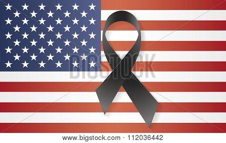 Usa Flag Black Ribbon