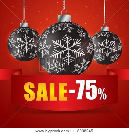 Winter Sale 75 Percent. Winter Sale With Red Background. Sale. Winter Sale. Christmas Sale. New Year