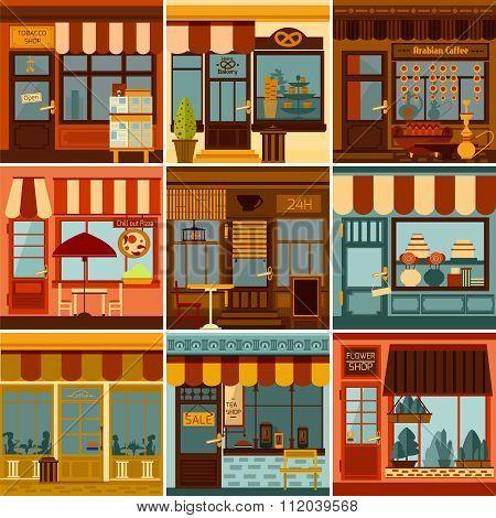 Restaurant And Shop Facades Set