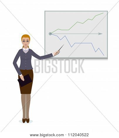 business woman standing with progress chart graph at presentation