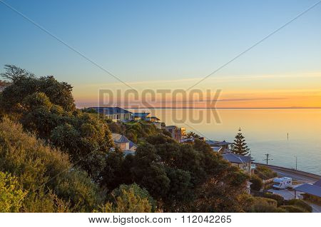 Houses On Olivers Hill Overlooking The Mornington Peninsula Sunset