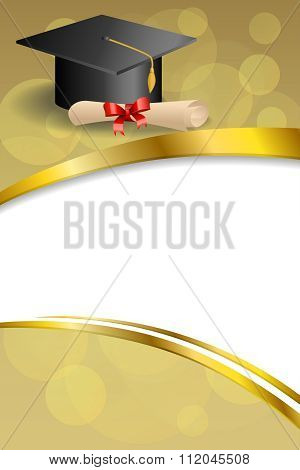 Background abstract beige education graduation cap diploma red bow vertical gold ribbon illustration