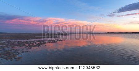Pink Sunset Panorama Of Inverloch Foreshore Beach, Gippsland, Australia