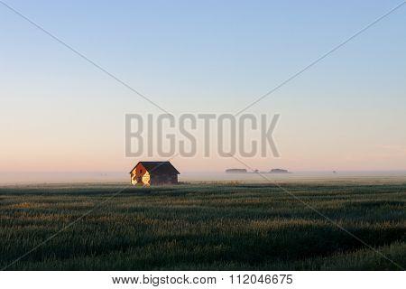 Barn In Morning Fog On Prairie