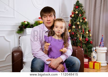 Father and the daughter on Christmas