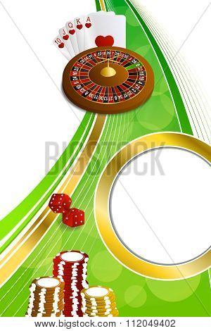 Background abstract green gold casino roulette cards chips craps vertical frame illustration vector