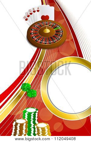 Background abstract red gold casino roulette cards chips craps vertical frame illustration vector