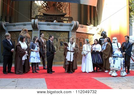 LOS ANGELES - DEC 17:  Andrew Porters, Caroline Ritter at the Australian Star Wars fans get married in a Star Wars-themed wedding at the TCL Chinese Theater on December 17, 2015 in Los Angeles, CA