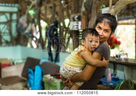 KO CHANG - THAILAND - DEC 19, 2015: Unidentified locals of the island. The island is part of marine national Park Mu Ko Chang. Ko Chang population of 5356 people living in 8 villages.