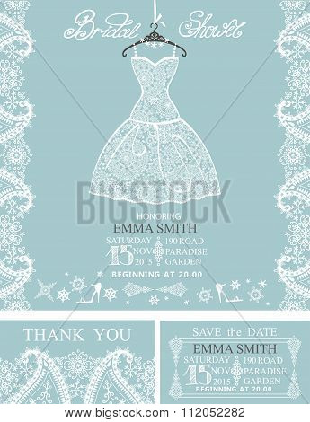 Bridal shower invitation set.Winterwedding  lace dress