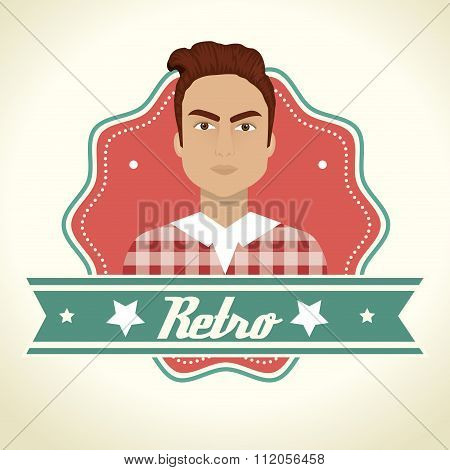 Male cartoon profile with fashion accesories