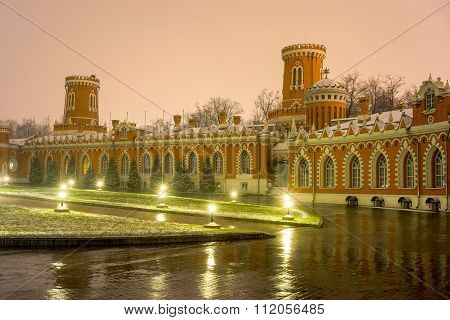 Petrovsky Travelling Palace, Neoghotic Red Bricked Architecture At Night.