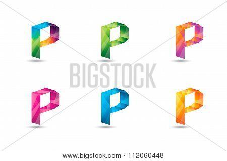 Colorful P Letter Logo Icon Mosaic Pattern Design Template Element. Letter P Design Vector.
