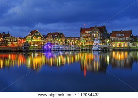 Waterfront Of Volendam On Christmas Night, The Netherlands