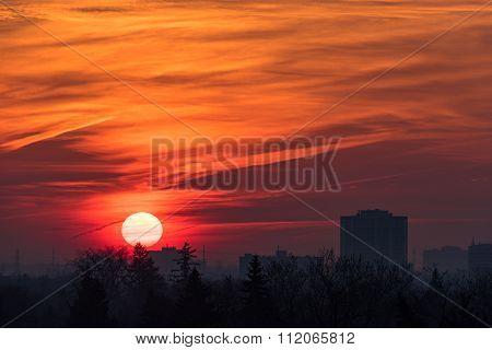 Beautiful Toronto City Sunrise in Winter