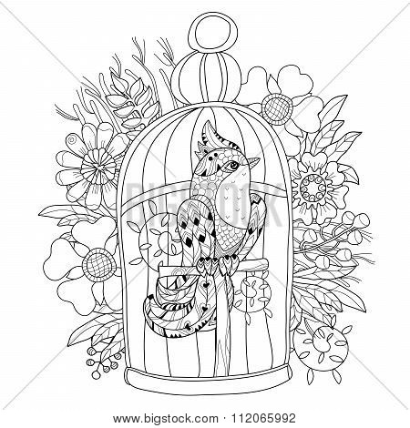 Zentangle stylized bird in cage. Hand Drawn vector