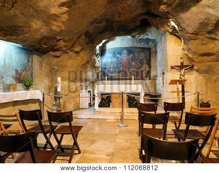 Jerusalem, Israel - July 13, 2015: Interior View Of Grotto Of Gethsemane - Chapel Located In Natural