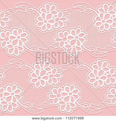 Two Lace Ribbons. Seamless white floral tape on a pink background.
