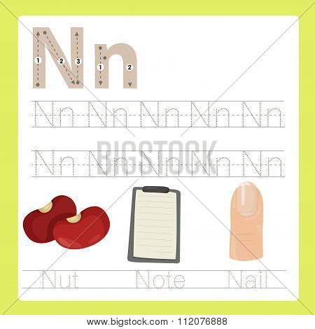 Illustrator of N exercise A-Z cartoon vocabulary