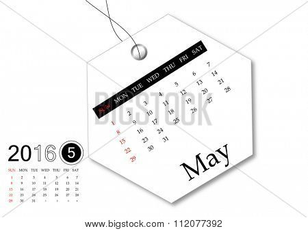 May 2016 - Calendar series for tag design
