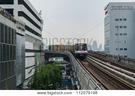 Bts Skytrain Runs Through The Silom Station